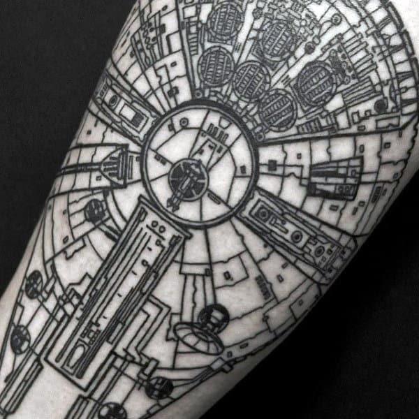 Star Wars Space Ship Unique Mens Arm Tattoo