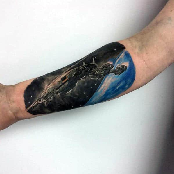 Star Wars Spaceship Mens Inner Forearm Tattoo