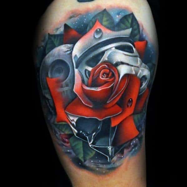 Star Wars Themed Rose Flower Arm Morph Tattoo Ideas For Gentlemen