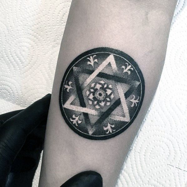 Star With Negative Space Dotwork Pattern Mens Small Detailed Forearm Tattoo
