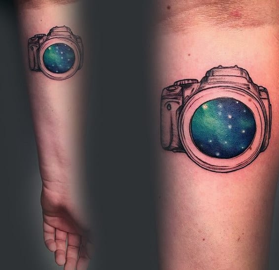 Starry Lens Of Camera Tattoo Male Forearms