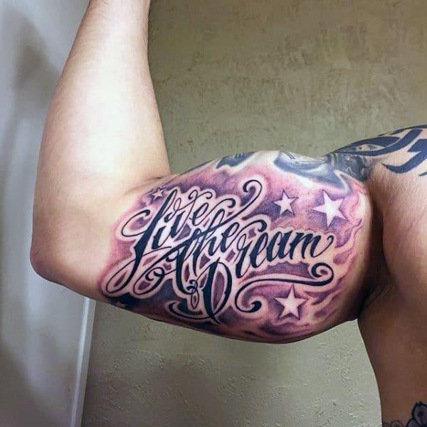 Starry Quotes Tattoo Male Inner Biceps
