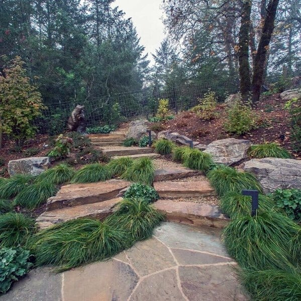 Stars Backyard Lansdcaping Stone Walkway Exterior Ideas