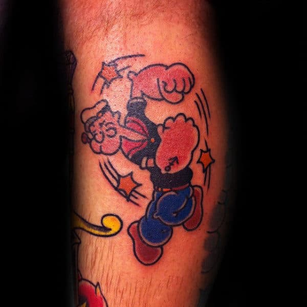 Stars Popeye Leg Calf Mens Tattoo Designs