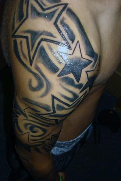 Start Of Shooting Star Sleeve Tattoo