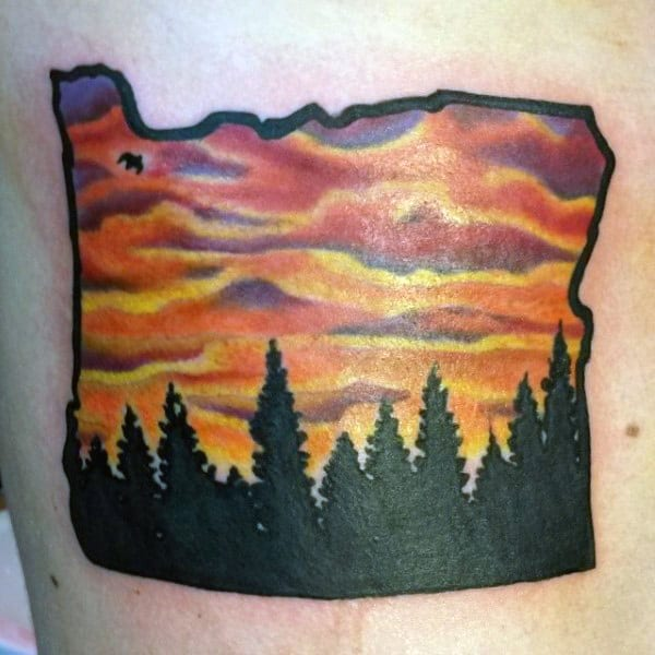 State Border With Black Pine Trees Small Sky Tattoos For Men