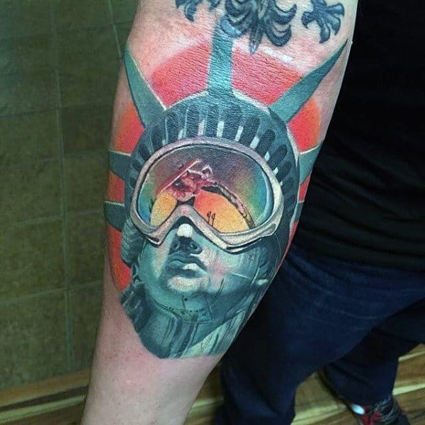 State Of Liberty Iwth 3d Design Mens Colorful Inner Forearm Tattoos
