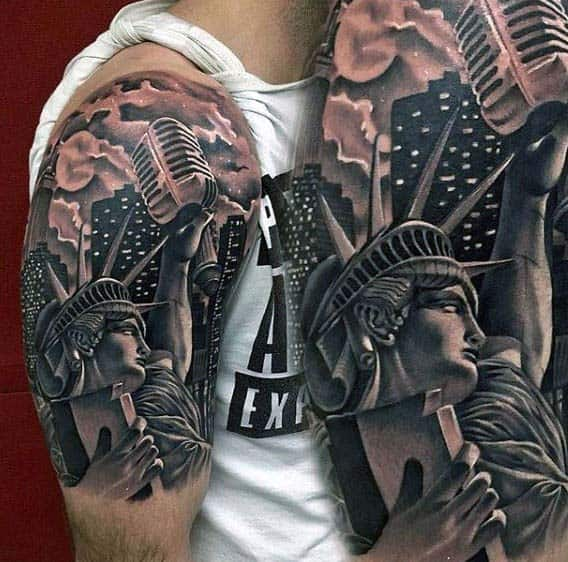 6b6550817a77b State Of Liberty With Microphone Nice Mens Half Sleeve Tattoos