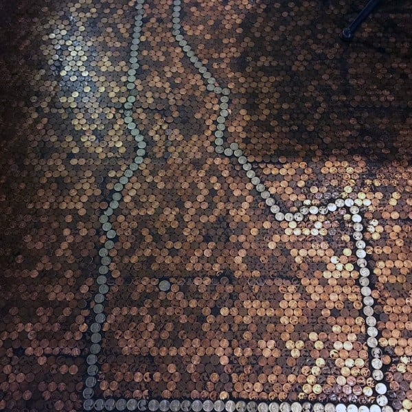 State Ouline With Nickels Penny Floor