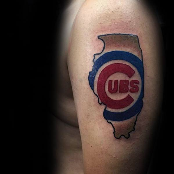 State Outline Cool Chicago Cubs Tattoo Design Ideas For Male On Arm