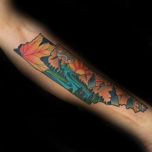 State Outline Inner Forearm River Tattoos For Gentlemen