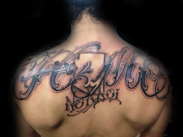 State With Last Name Male Upper Back Tattoo