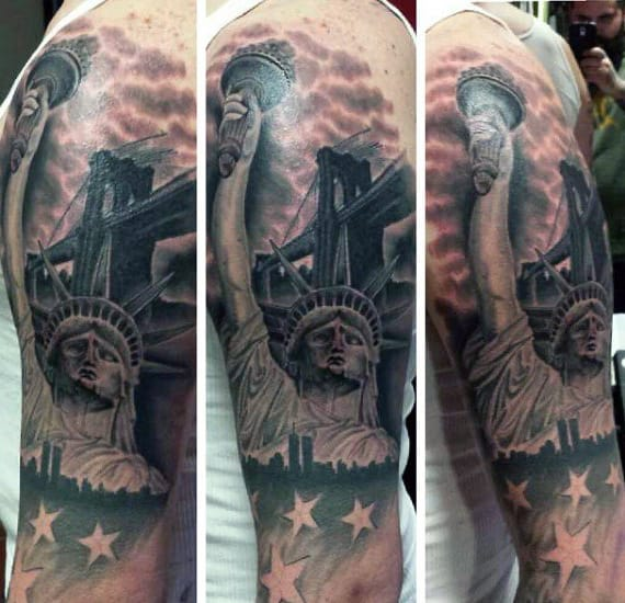 Statue Of Liberty Freedom Tattoos For Men