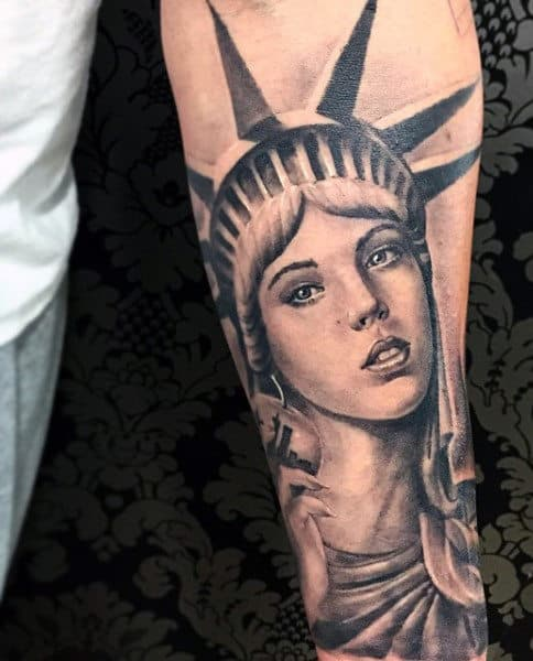 Statue Of Liberty Monument Tattoo For Men