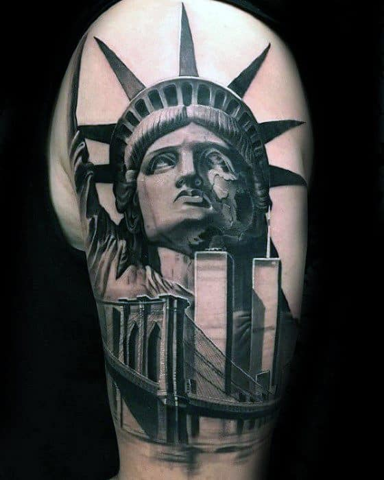 Statue Of Liberty New York Skyline Tattoos Men
