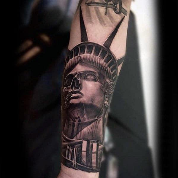 Statue Of Liberty Skull With Brooklyn Bridge Guys Forearm Tattoo