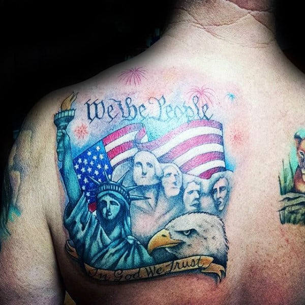 Statue Of Liberty We The People Mens Shoulder Tattoo