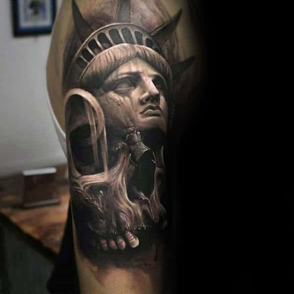 Statue Of Liberty With Skull Black Ink Male Arm Tattoo