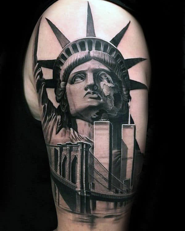 Statue Of Liberty With Skyline And Brooklyn Bridge Mens Nyc Tattoos On Arm