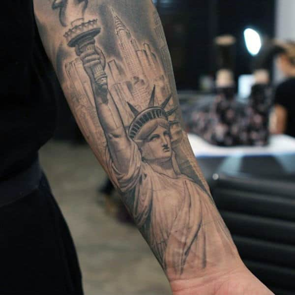 Statue Of Libery Inner Forearm Tattoos For Men