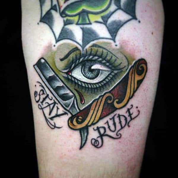 Stay Rude Straight Razor Tattoo With Crystal Eye Guys Forearm