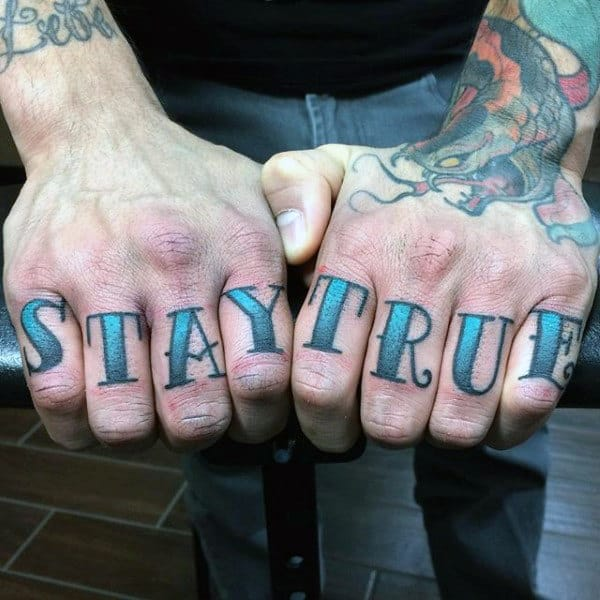Stay True Guys Knuckle Tattoos Font