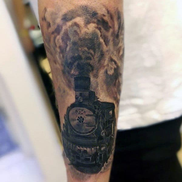 Steam Locomotives Tattoo Designs For Men With Puffing Smoke Stack