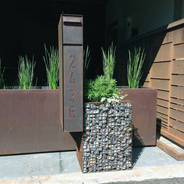Steel And Rock Good Ideas For Mailbox Landscaping