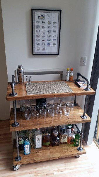 Steel Pipe With Wood Boards Mini Bar Ideas