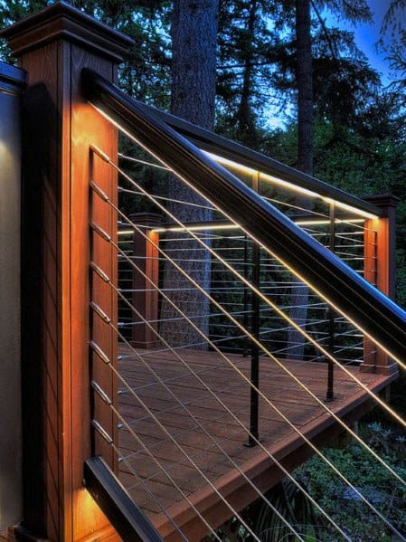 Steel Railing Impressive Deck Lighting Ideas