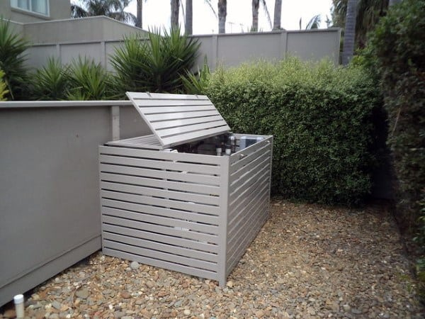 Steel Slat Pool Equipment Enclosure Ideas