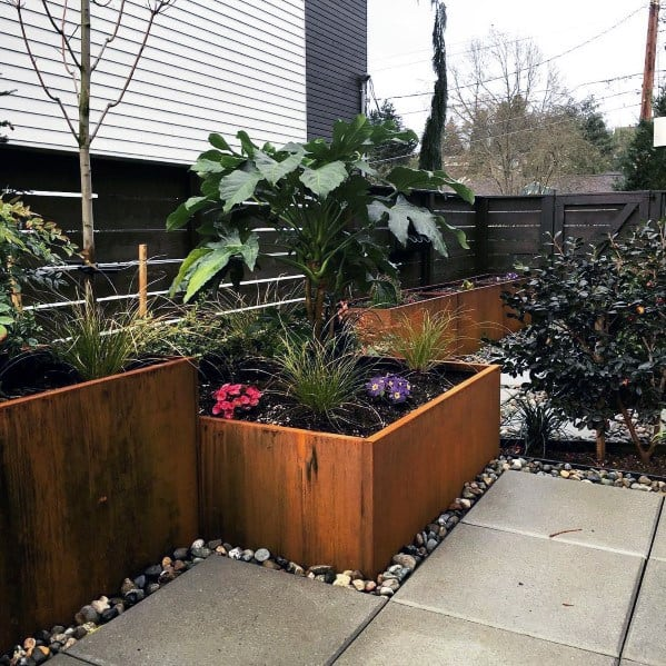 Steel Wall Garden Home Ideas Stone Edging Lanscaping Accent