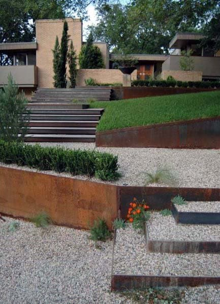 Steel Walls Sloped Gravel Steps Lanscape Ideas