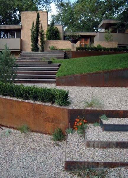 Steel Walls Sloped Gravel Steps Lanscape Ideas