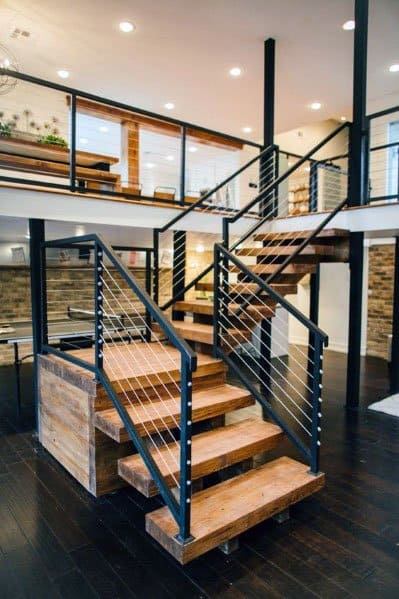 Steel Wire Railing Luxury Wood Stairs