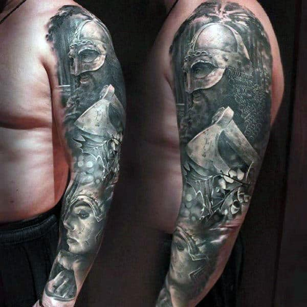 Steely Grey Realistic Tattoos Of Warrior Guys Full Sleeves
