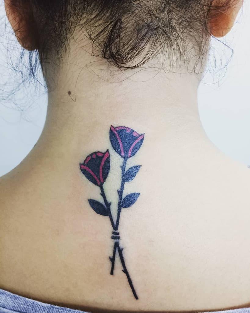 stem rose neck tattoos pearl_tattoo_studio