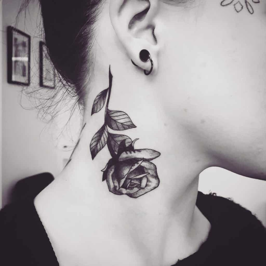 stem rose neck tattoos phoeberca_tattoo