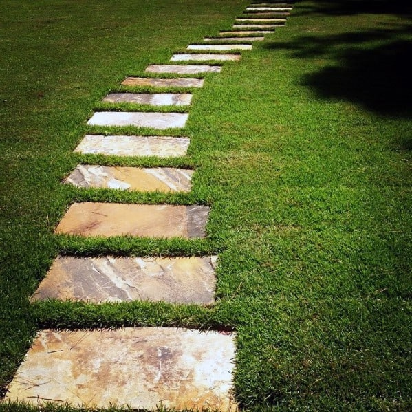 Stepping Stones Grass Flagstone Walkway Outdoor Ideas