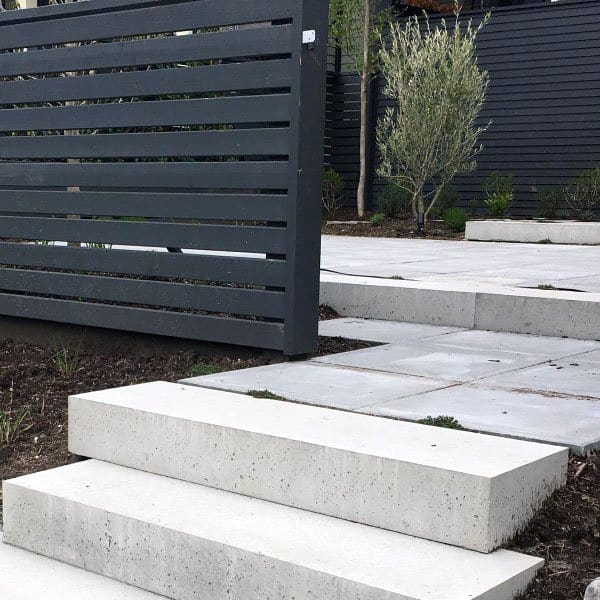 Steps With Fence Concrete Patio Ideas