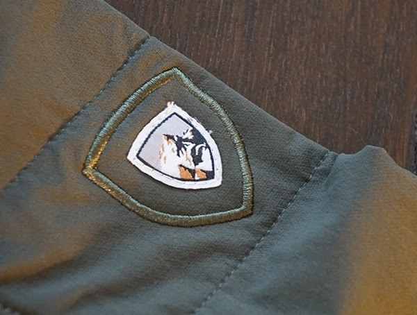 Stitched Kuhl Logo On Wildkard Hybrid Jacket Upper Arm Sleeve