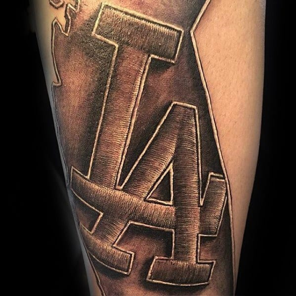 Stiched Los Angeles Dodgers Logo Guys Arm Tattoos