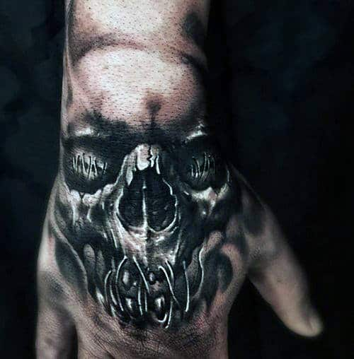 Stitched Skull Mens Hand Tattoo