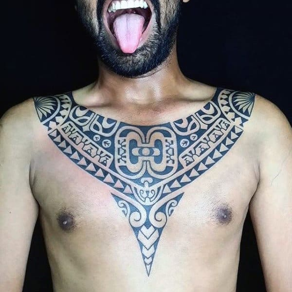 Stlyish Mens Tribal Tattoos From Chest To Arm