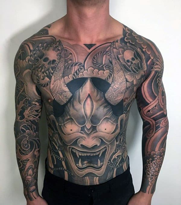 Stomach And Chest Hannya Mask Tattoos For Males