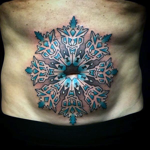 Stomach Belly Button Snowflake Mens Tattoos