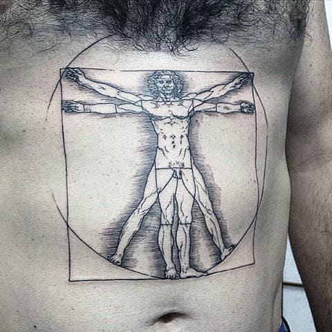 Stomach Drawing Tattoo Of Vitruvian Man On Gentleman