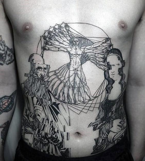 Stomach Guys Vitruvian Man And Leonardo Da Vinci Portrait Tattoo