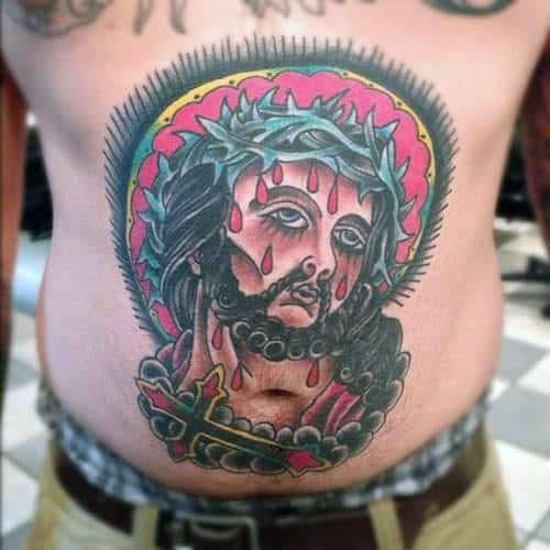 Stomach Jesus Cross Guys Old School Traditional Tattoos