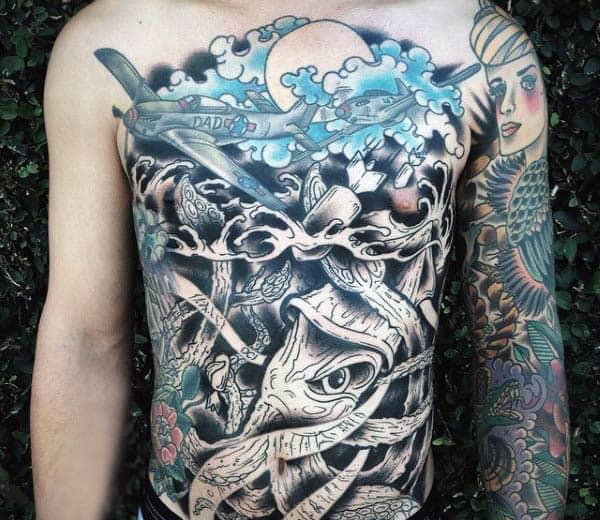 Stomach Mens Japanese Squid Tattoos
